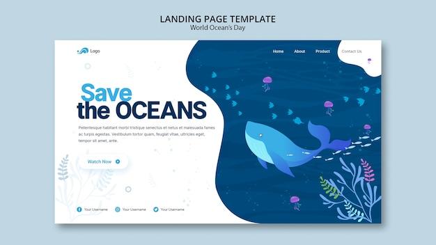Modello di pagina di destinazione con giornata mondiale dell'oceano
