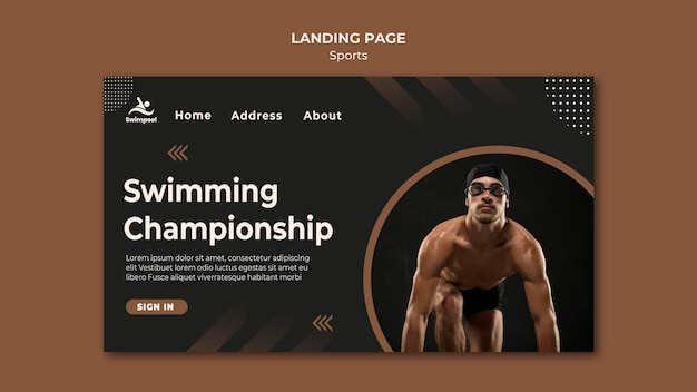 Modello di pagina di destinazione del campionato di nuoto