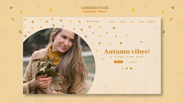 Modello di pagina di destinazione del concetto di autunno