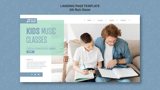 Modello di pagina di destinazione del concetto di classi di musica per bambini