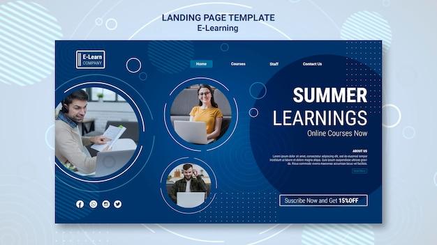 Modello di pagina di destinazione del concetto di e-learning