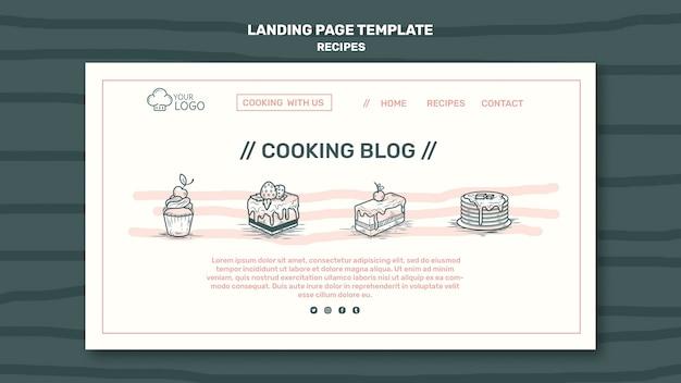 Modello di pagina di destinazione del concetto di ricette
