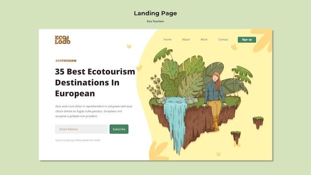 Modello di pagina di destinazione del concetto di turismo ecologico