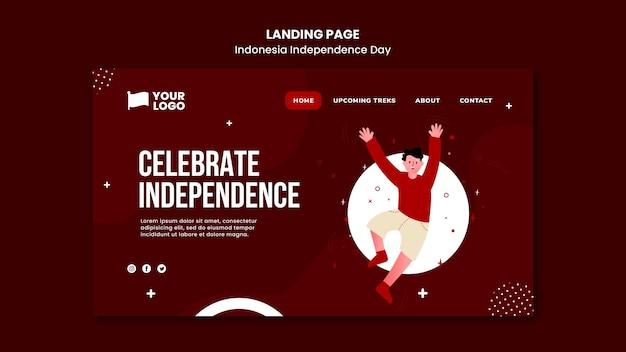 Modello di pagina di destinazione del giorno dell'indipendenza dell'indonesia