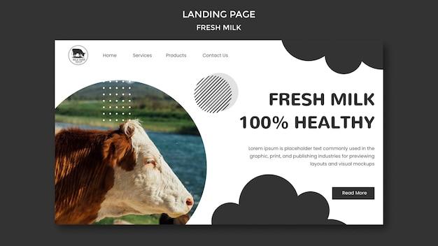 Modello di pagina di destinazione del latte fresco