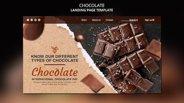 Modello di pagina di destinazione del negozio di cioccolato