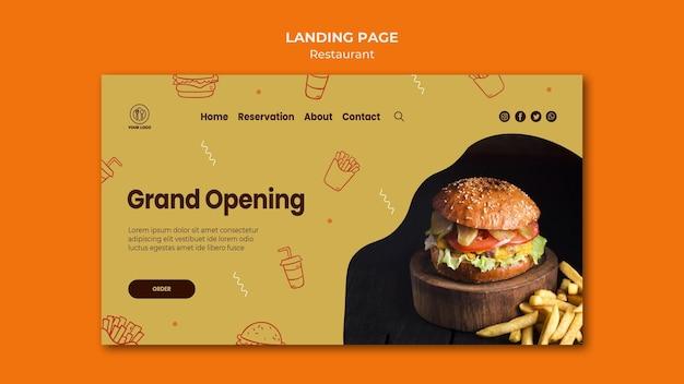 Modello di pagina di destinazione del ristorante di hamburger con foto