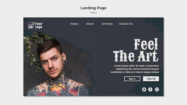 Modello di pagina di destinazione del tatuatore