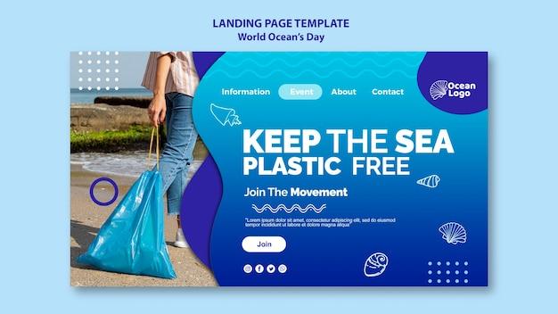 Modello di pagina di destinazione della giornata mondiale degli oceani