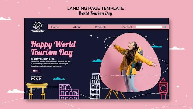 Modello di pagina di destinazione della giornata mondiale del turismo