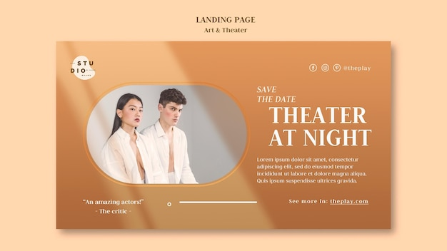 Modello di pagina di destinazione di arte e teatro