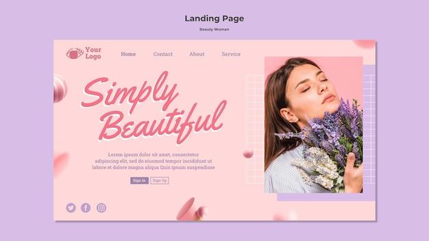 Modello di pagina di destinazione di bellezza donna concetto