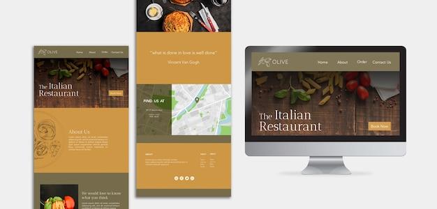 Modello di pagina di destinazione di cibo italiano