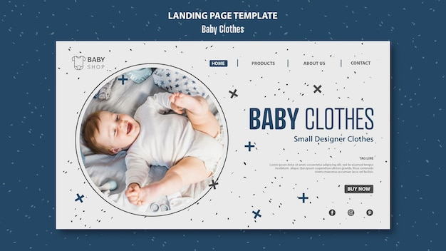 Modello di pagina di destinazione di vestiti del bambino