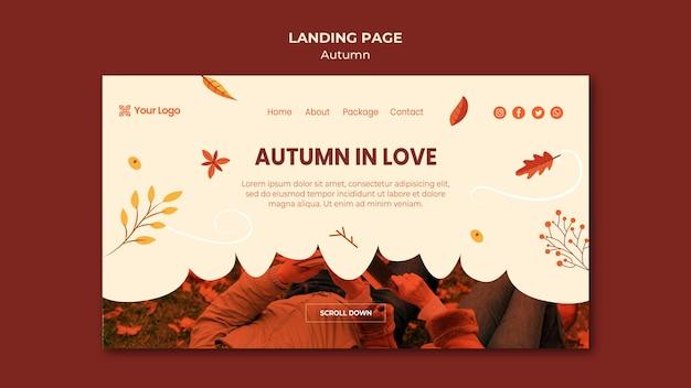 Modello di pagina di destinazione per accogliere la stagione autunnale