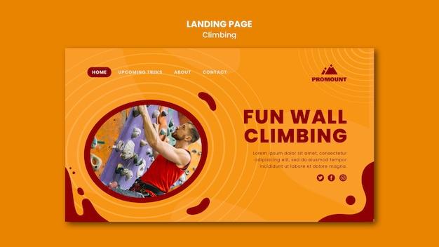 Modello di pagina di destinazione per arrampicata su roccia
