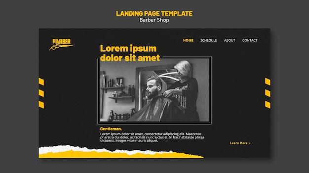 Modello di pagina di destinazione per attività di barbiere