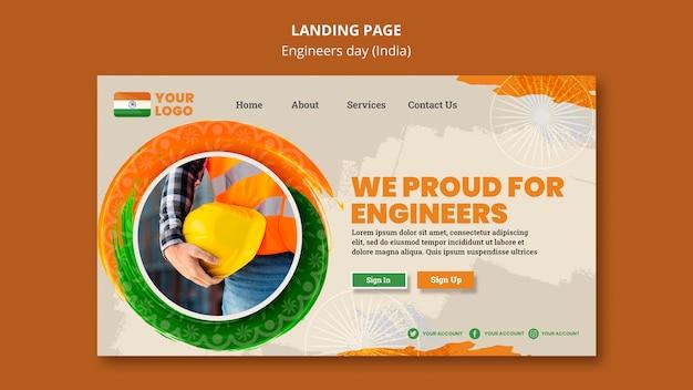 Modello di pagina di destinazione per la celebrazione del giorno degli ingegneri