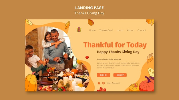 Modello di pagina di destinazione per la celebrazione del ringraziamento