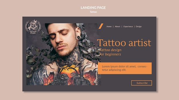 Modello di pagina di destinazione per tatuatore