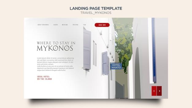 Modello di pagina di destinazione viaggi mykonos