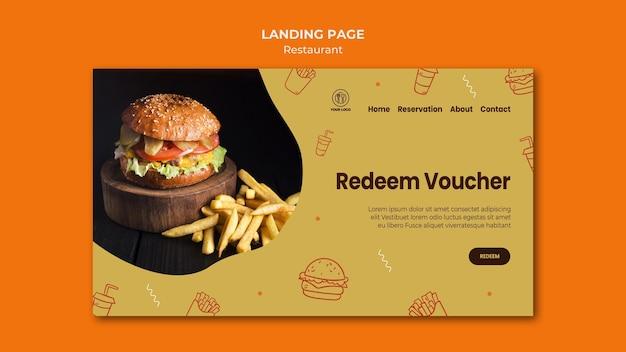 Modello di pagina web del ristorante hamburger