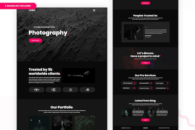 Modello di pagina web di fotografia