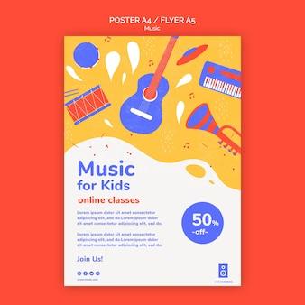 Modello di piattaforma musicale per bambini flyer