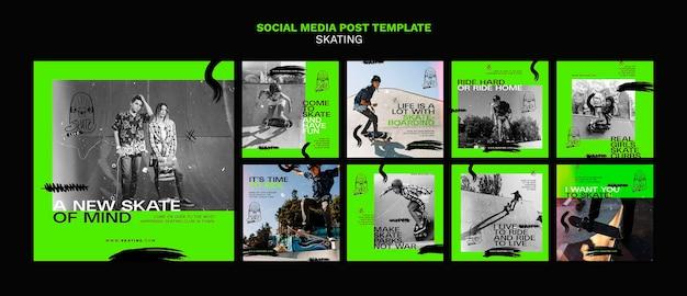 Modello di post di instagram di annunci di pattinaggio
