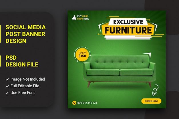 Modello di post di instagram social media mobili divano