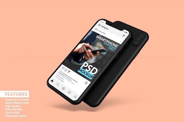 Modello di post di instagram su mock up android premium
