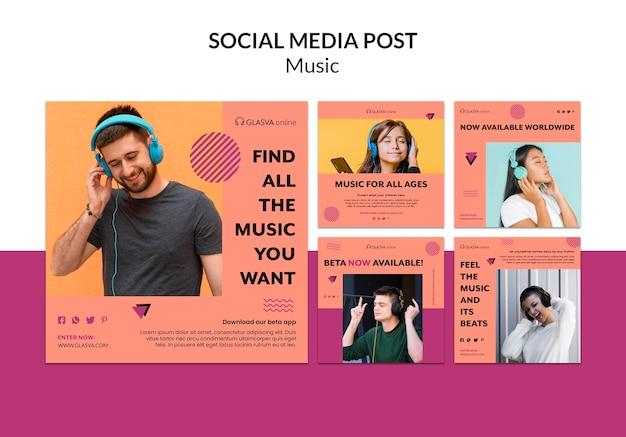 Modello di post di musica social media