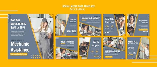 Modello di post di social media assistenza meccanica