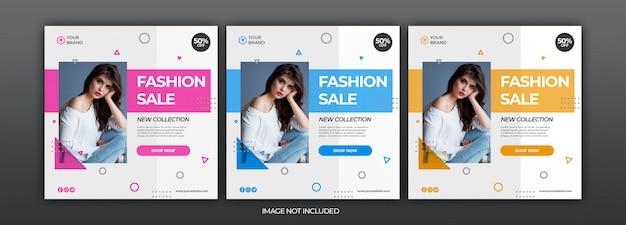 Modello di post di social media banner di vendita di moda