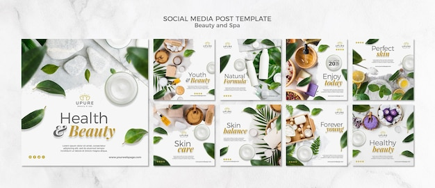 Modello di post di social media bellezza e spa