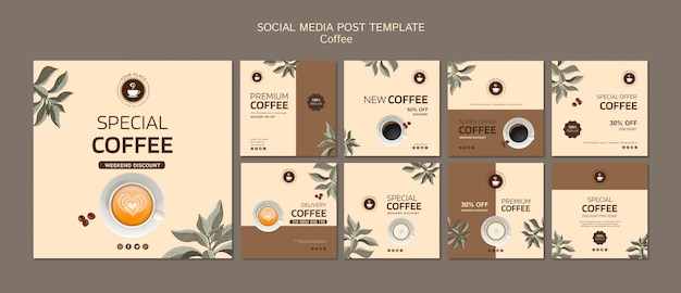 Modello di post di social media caffè