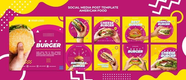 Modello di post di social media cibo americano