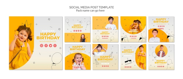Modello di post di social media con buon compleanno