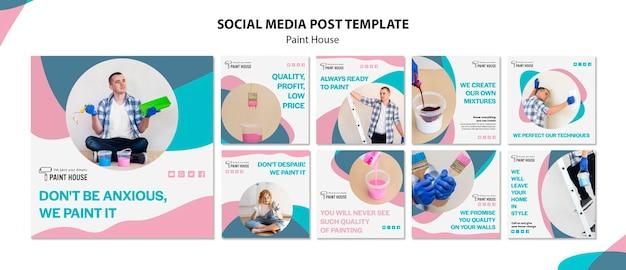Modello di post di social media concetto di casa di vernice