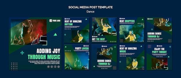 Modello di post di social media concetto di danza