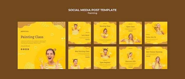 Modello di post di social media concetto di pittura