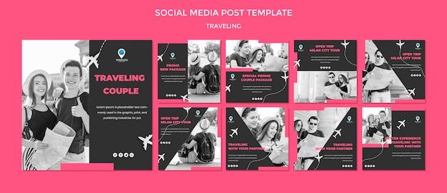 Modello di post di social media concetto di viaggio