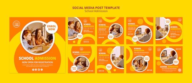 Modello di post di social media concetto scuola ammissione