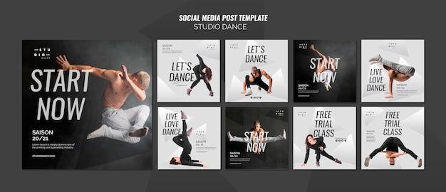 Modello di post di social media dance studio