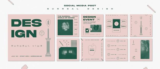 Modello di post di social media design surreale