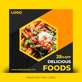 Modello di post di social media di alimenti