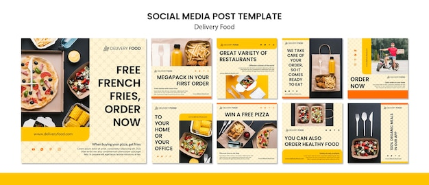 Modello di post di social media di cibo di consegna