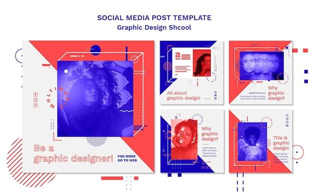 Modello di post di social media di concetto di scuola di design grafico