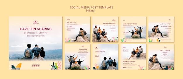 Modello di post di social media escursionismo
