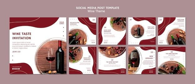 Modello di post di social media gusto vino